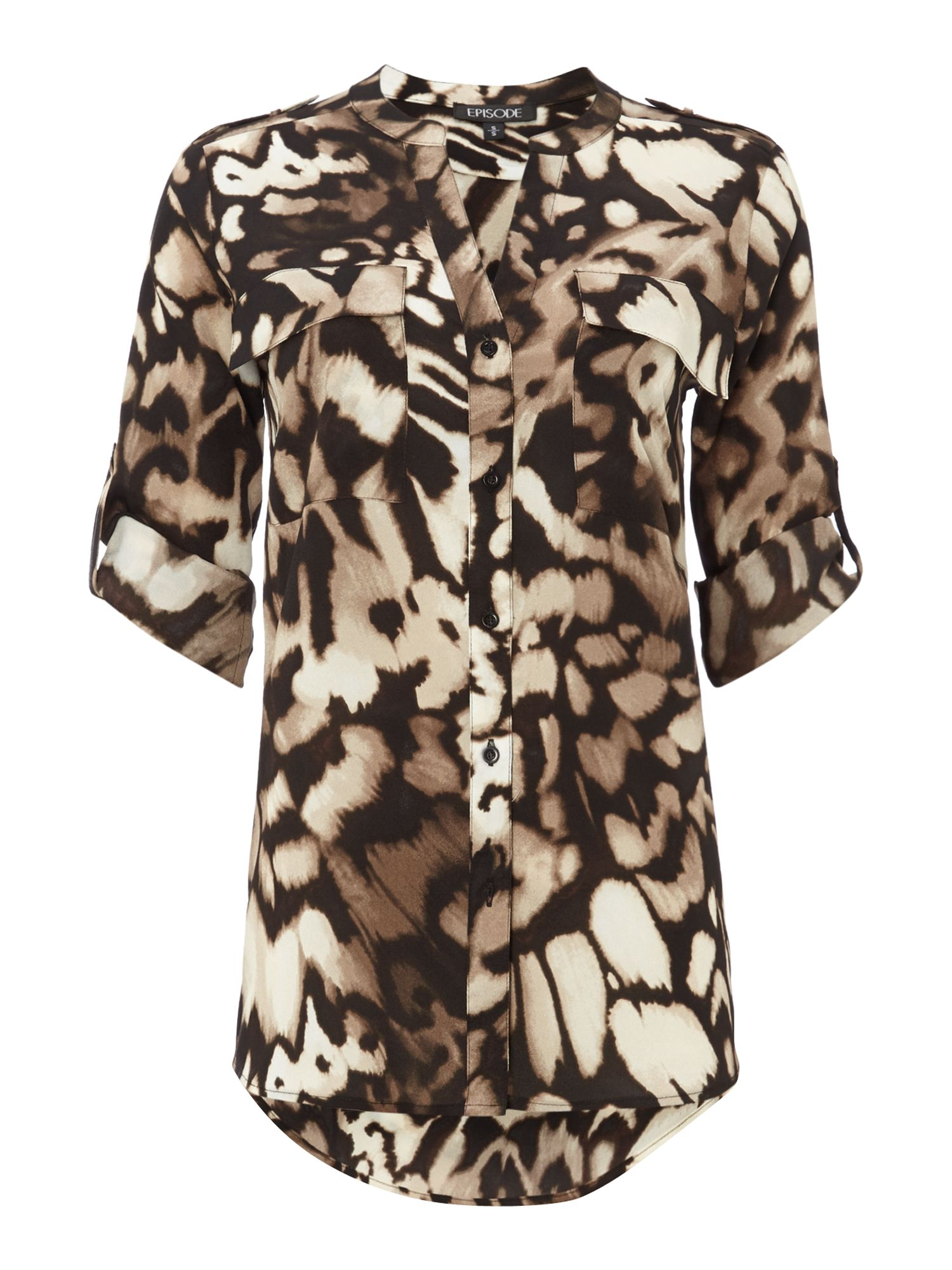 Animal print roll sleeve blouse