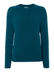 Carmine long sleeved cable knit jumper
