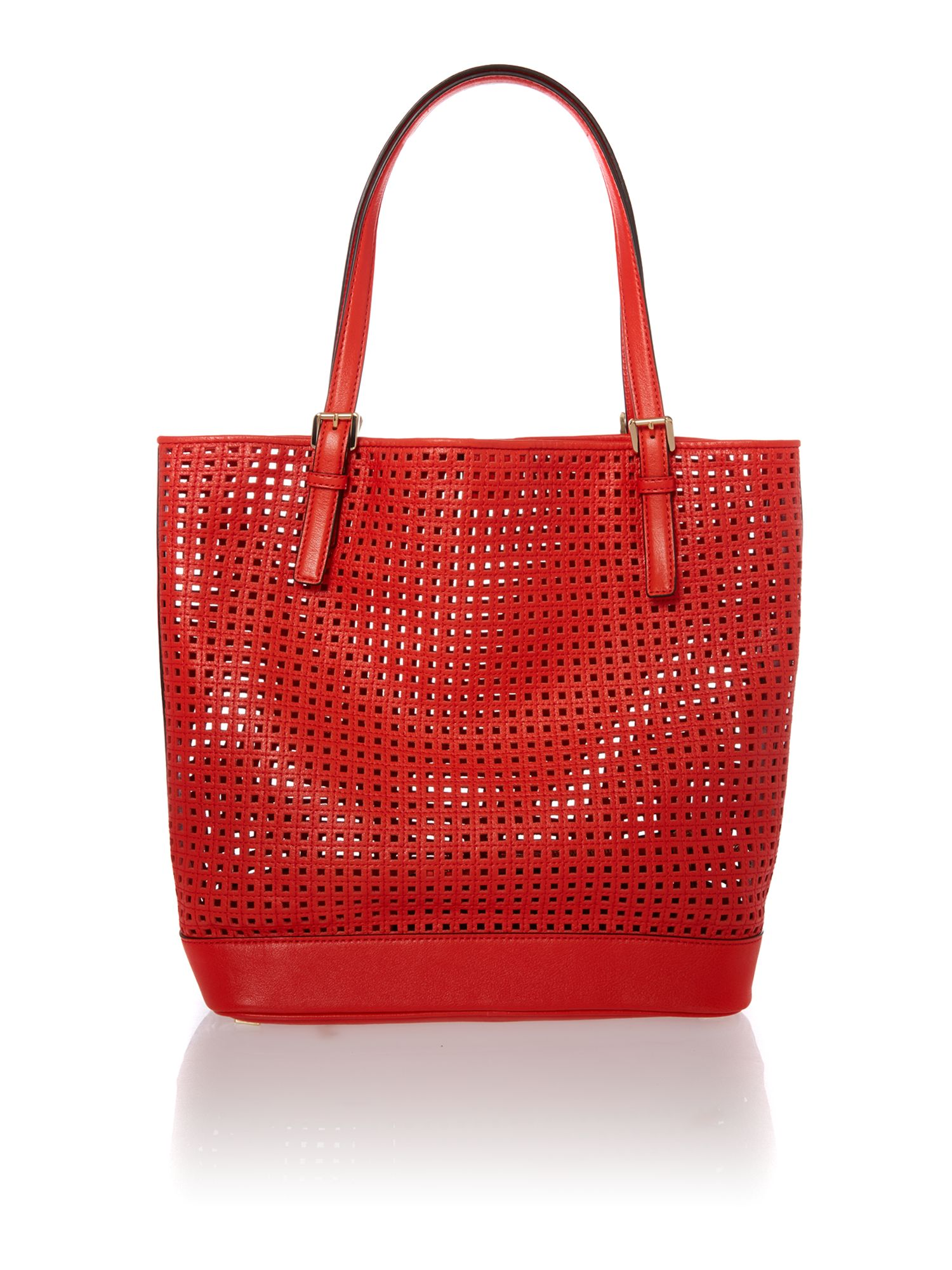 Bridget red perforated tote bag