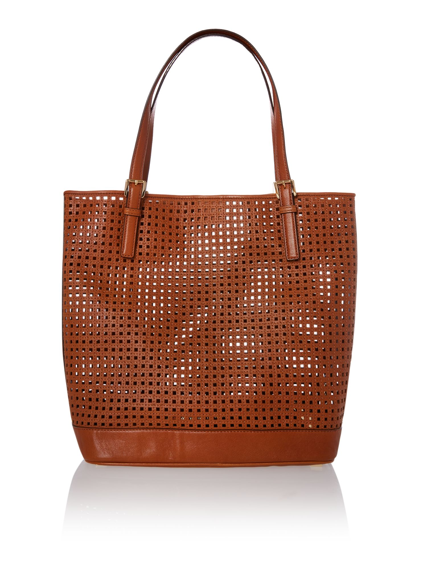 Bridget tan perforated tote bag