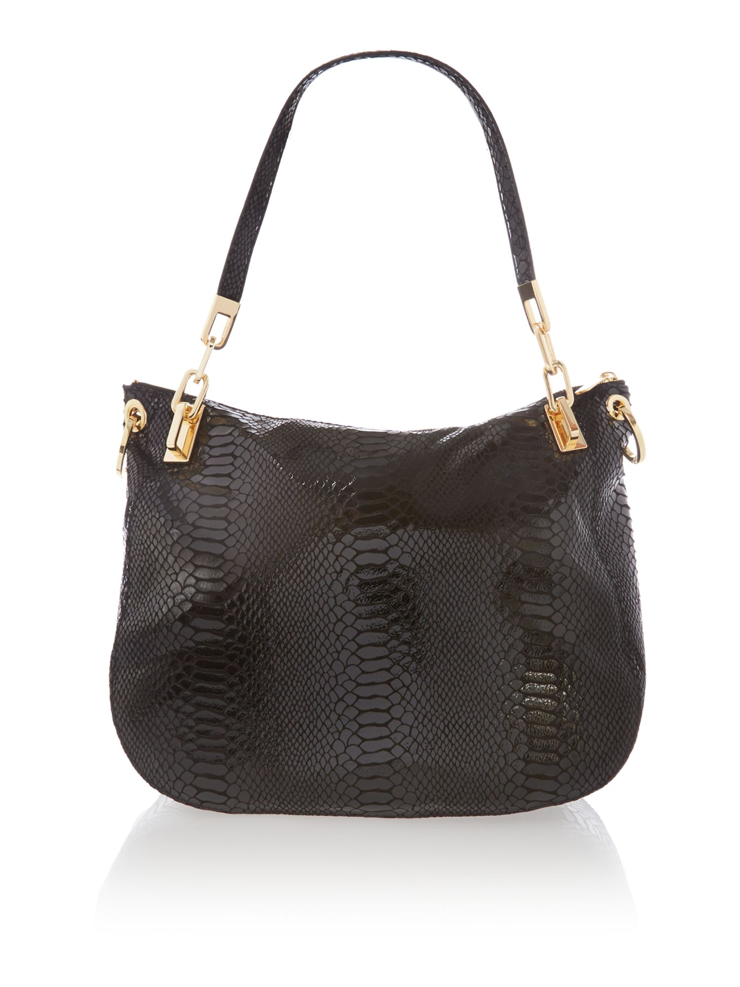 Brooke large black patent python tote bag