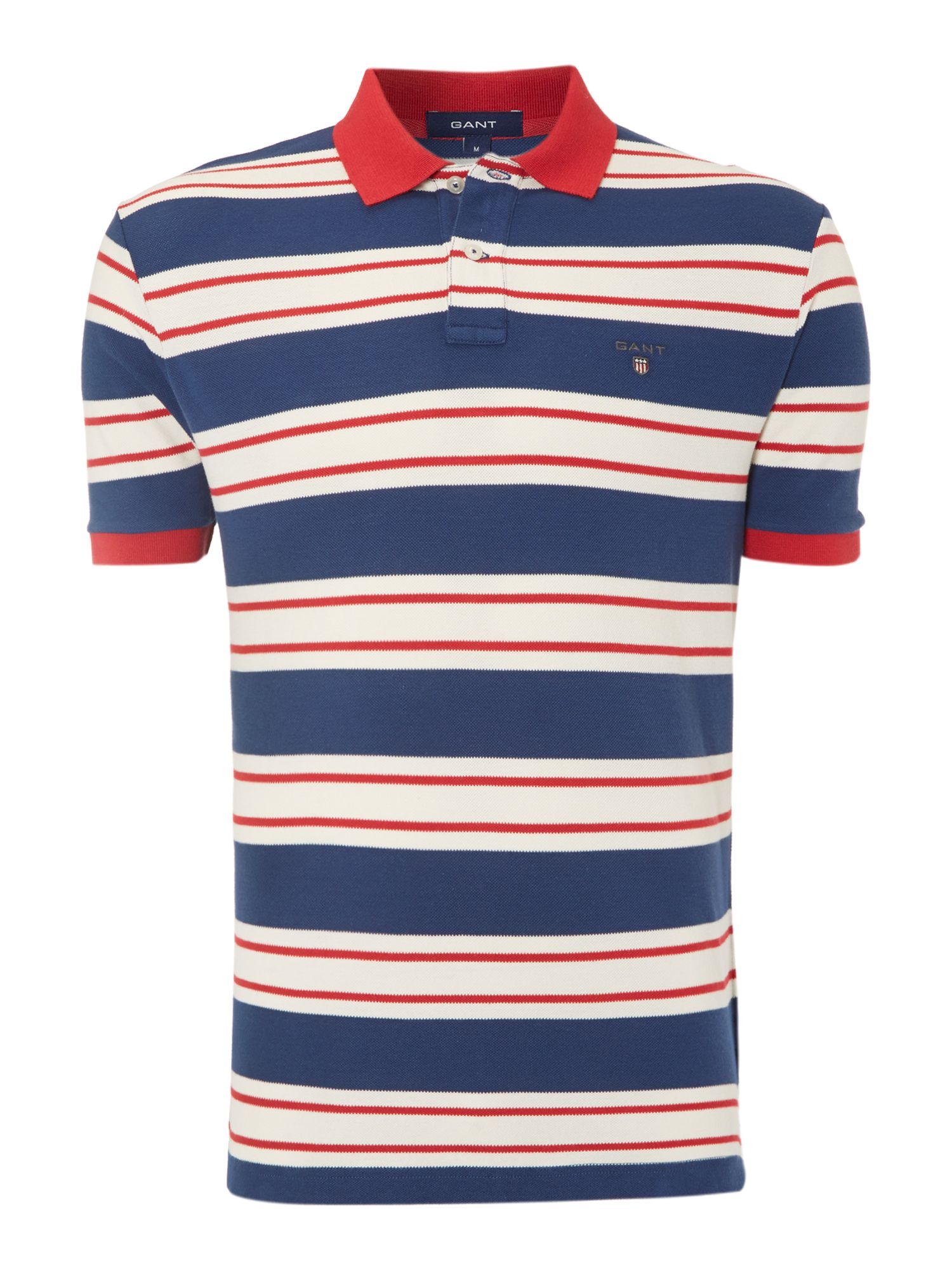 Breton bar stripe pique polo