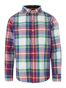 Boy`s checked shirt with logo
