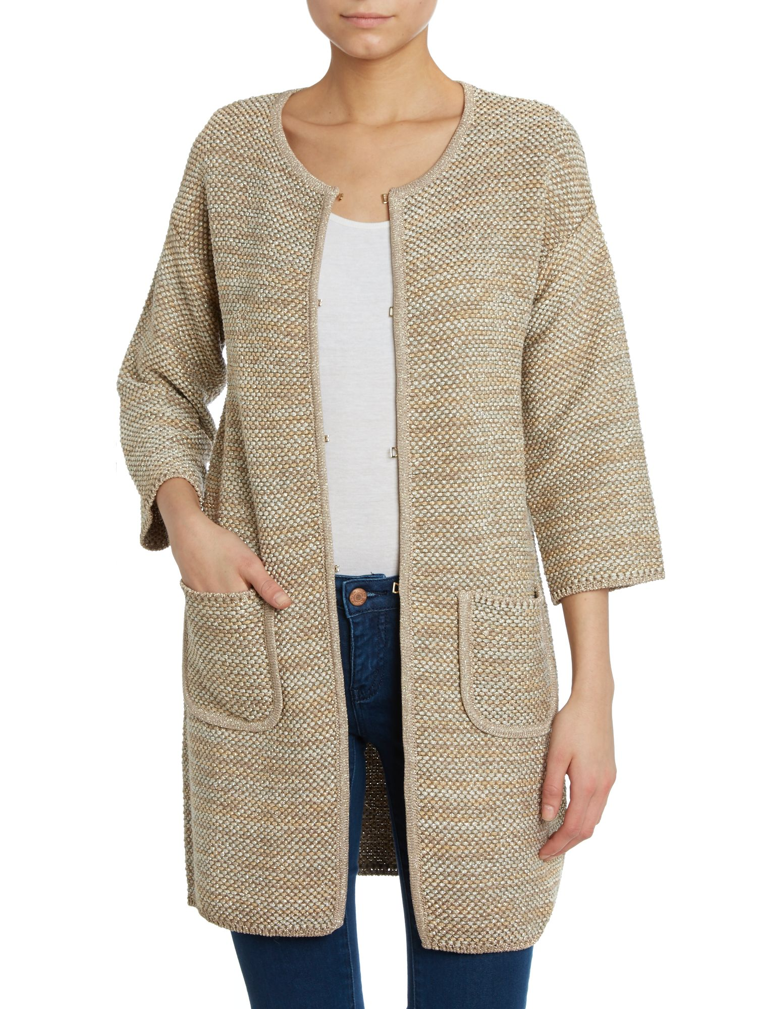 3/4 sleeve lurex coat