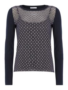 Orel long sleeve top in mesh jersey