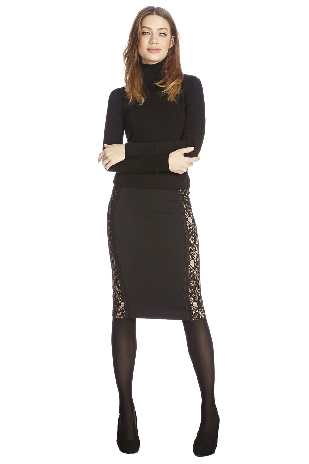 Lace side pencil skirt