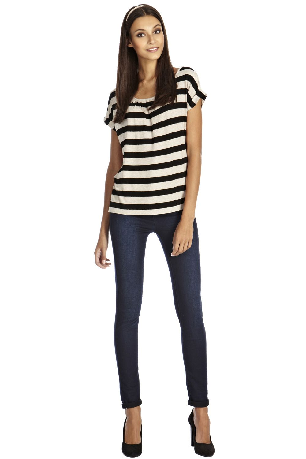 Stripe relaxed gathered neck tee