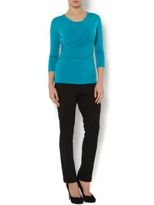 Long sleeve double layered wrap jersey top