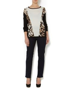 Animal print block knit