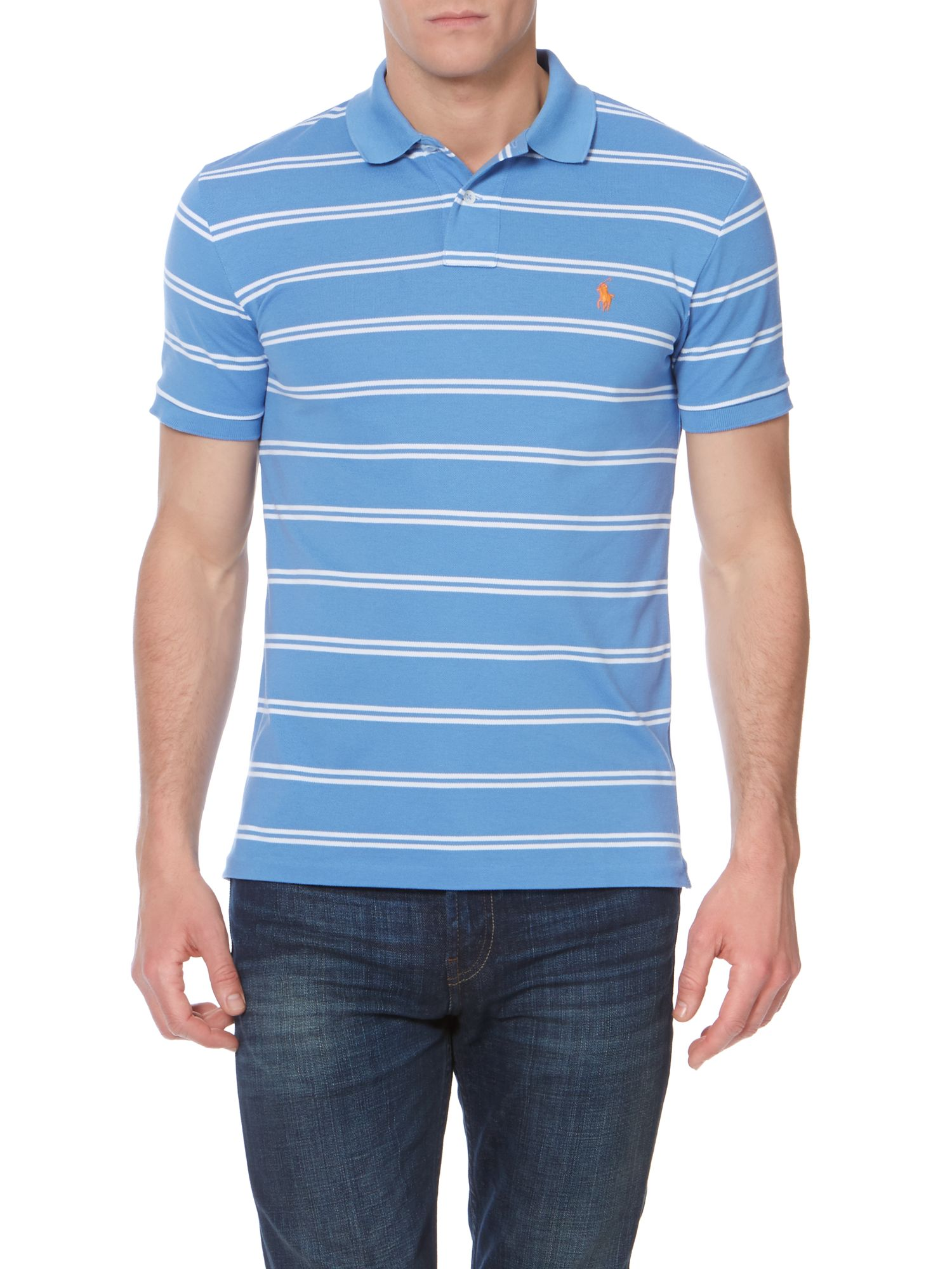 Fine stripe slim fit polo shirt