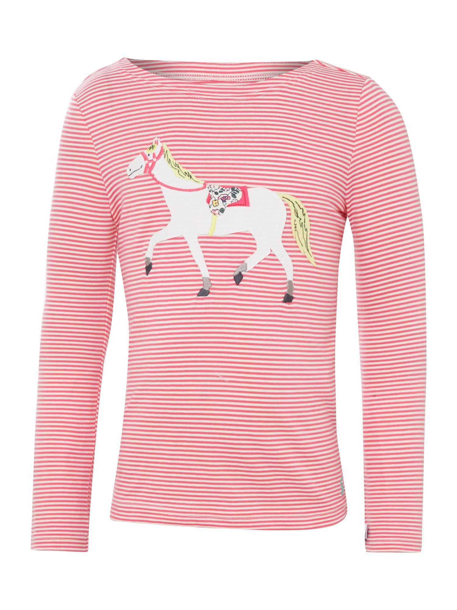 Girl`s pony applique striped t-shirt