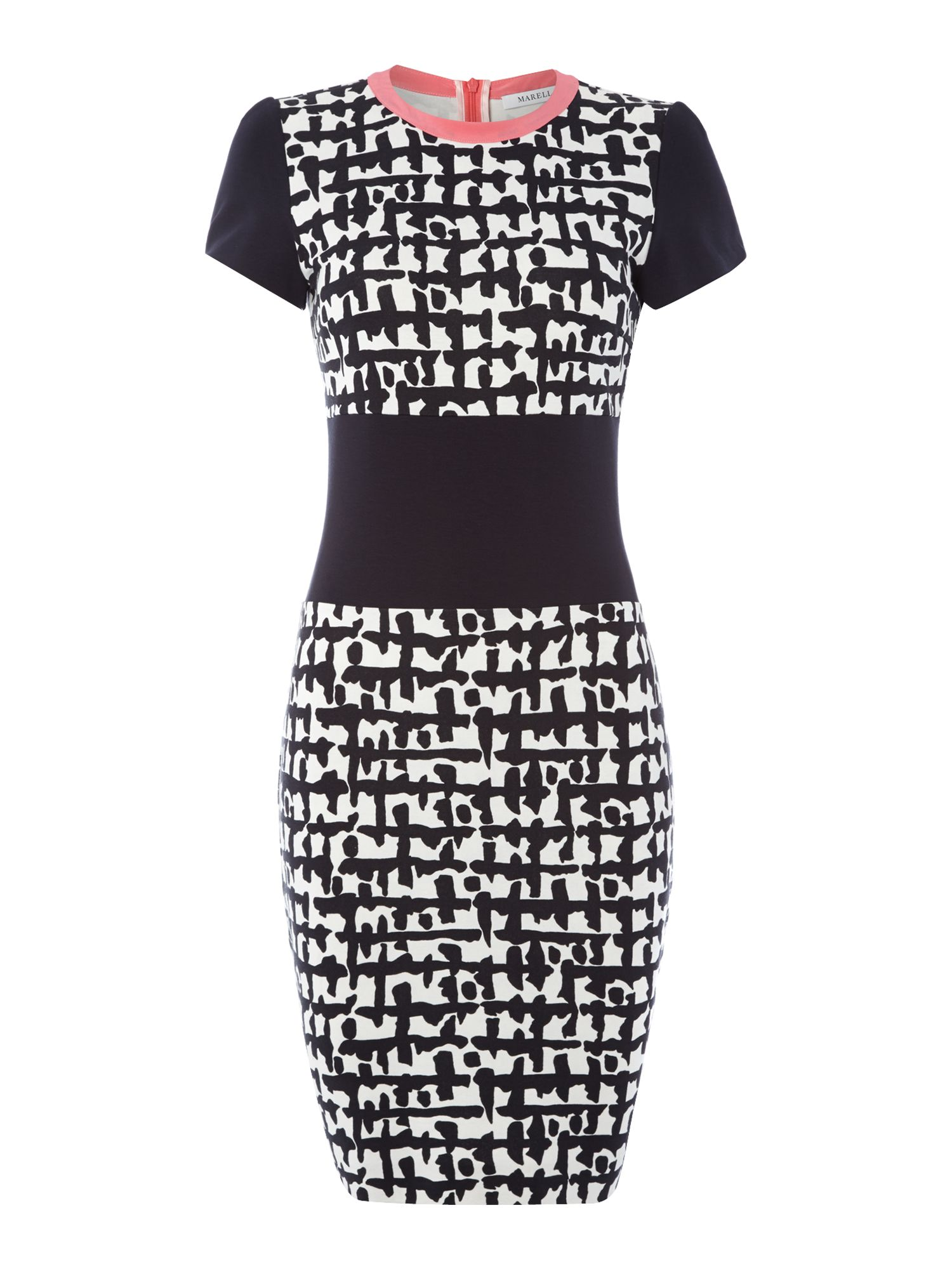 Yale graphic print dress with contrast collar