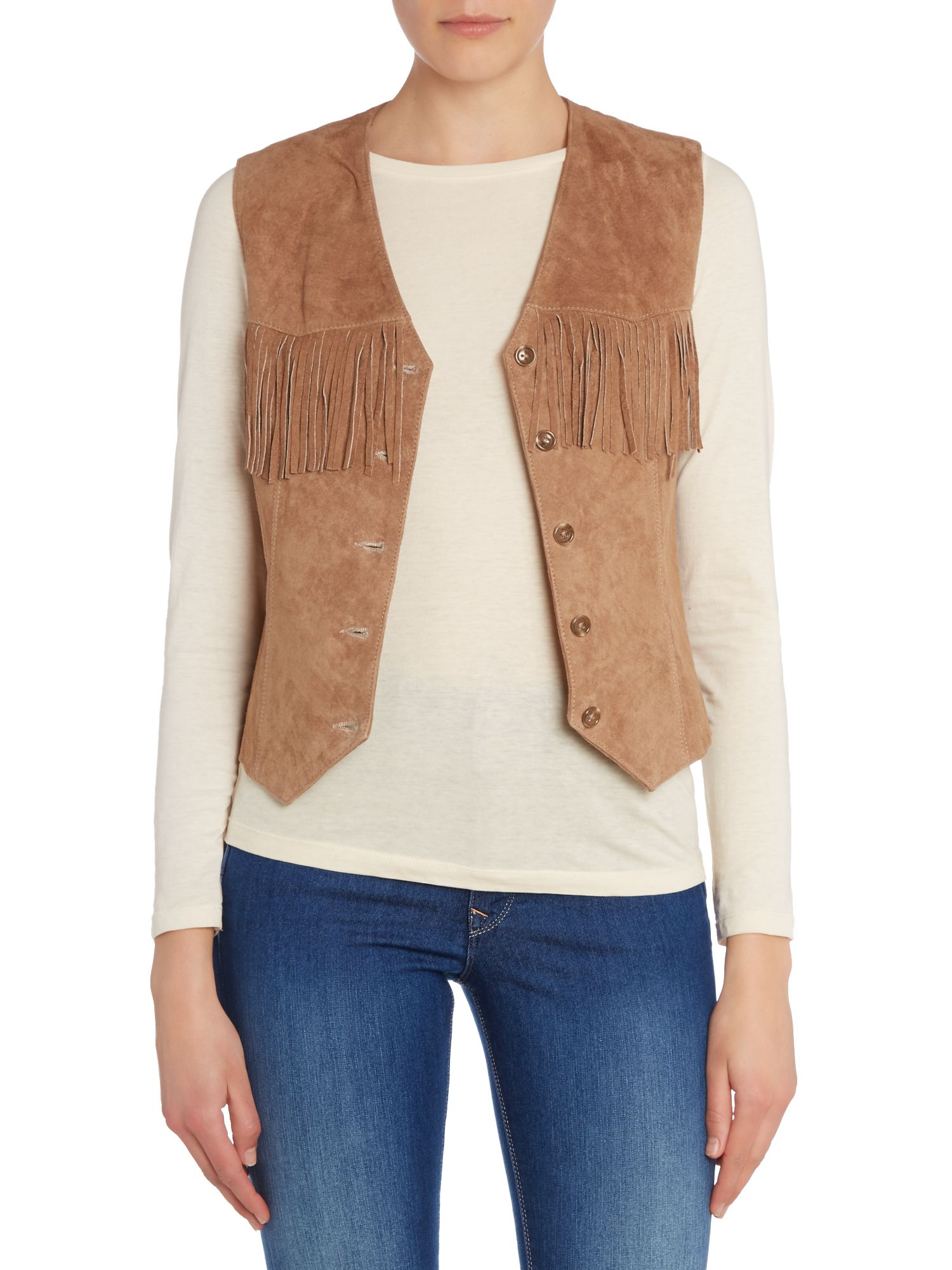Sleeveless tassle front jacket