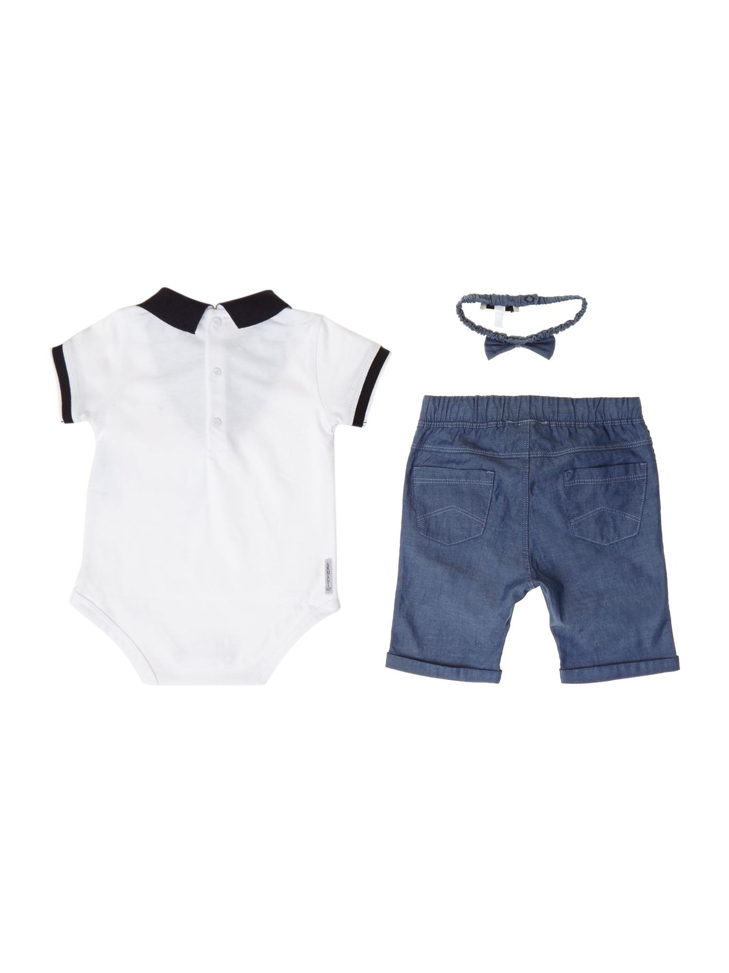 Baby`s polo and trouser gift set with bowtie