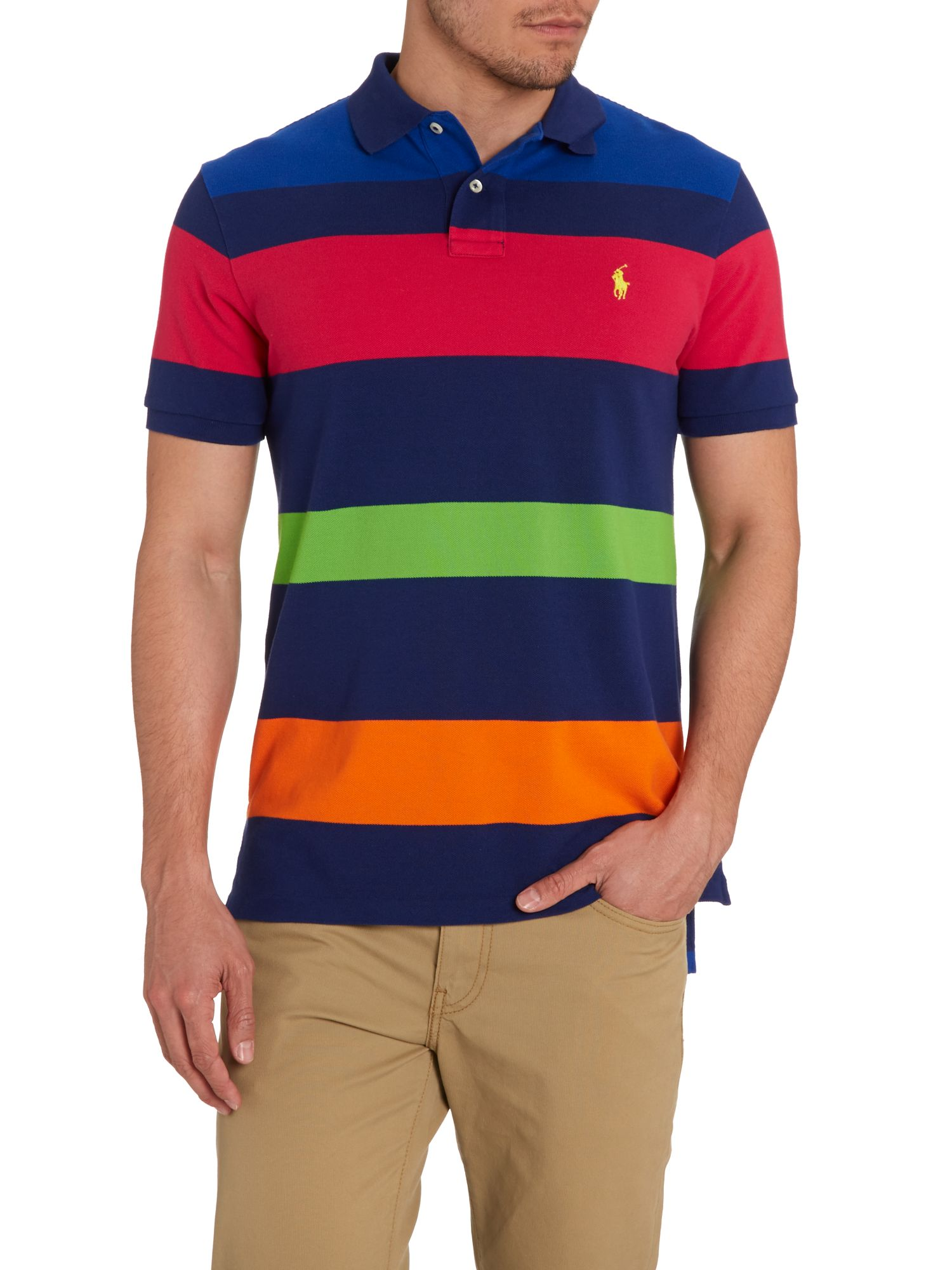 Multi stripe custom fit polo shirt