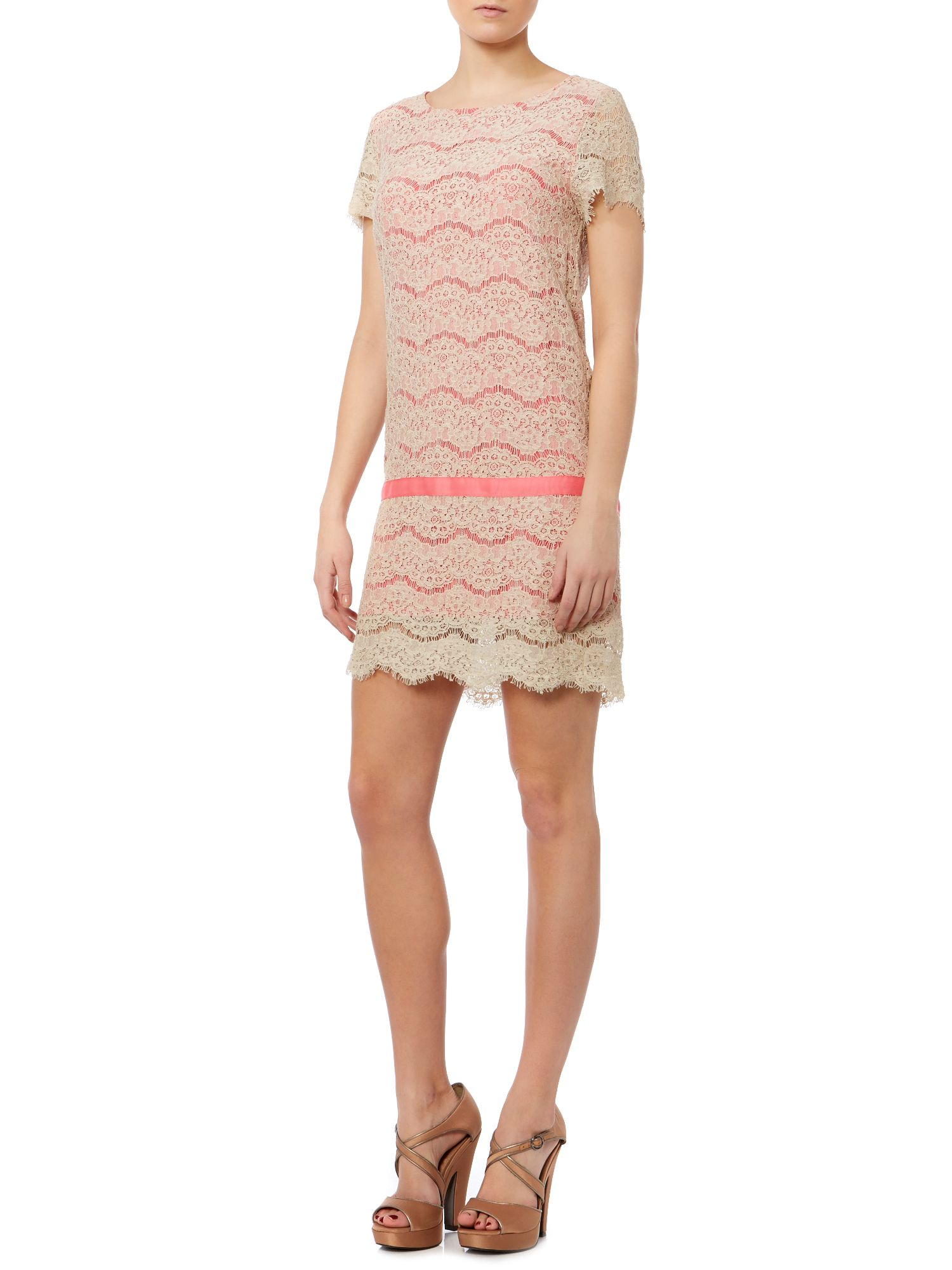 Grana contrast colour shift dress in lace