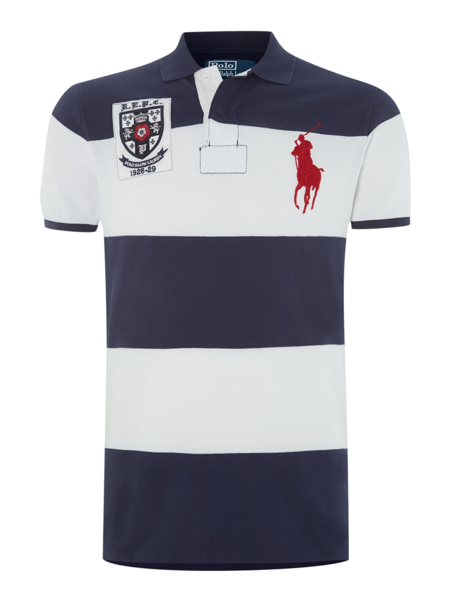 Custom fit block stripe big pony polo shirt