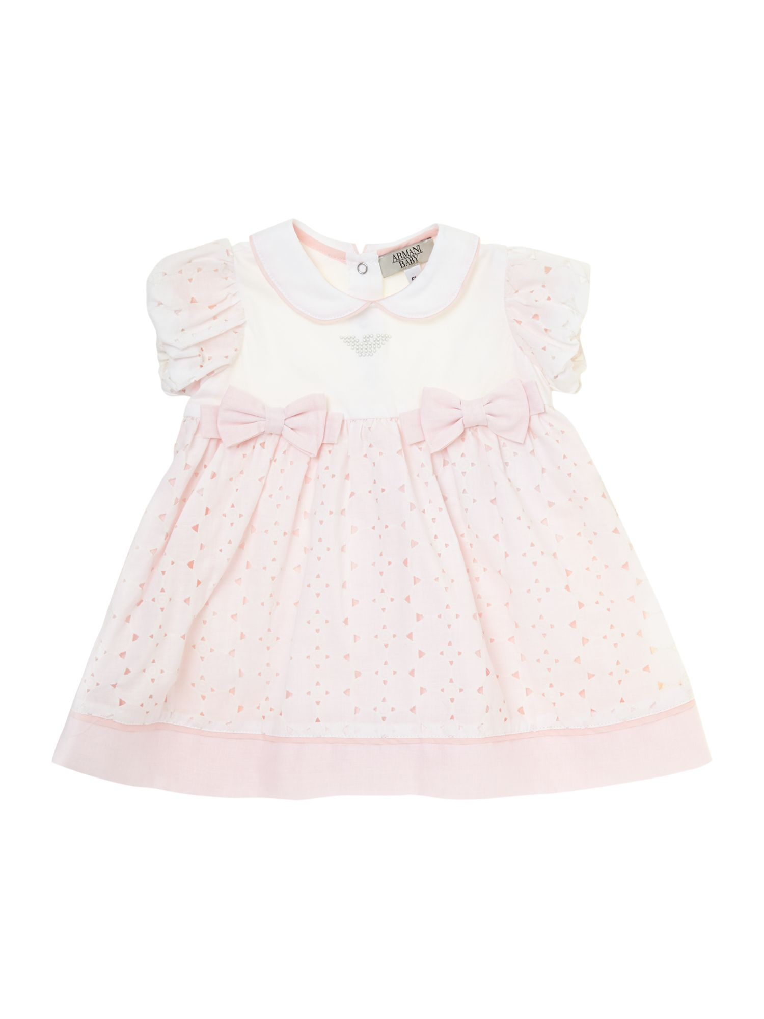 Girl`s newborn broderie bow dress