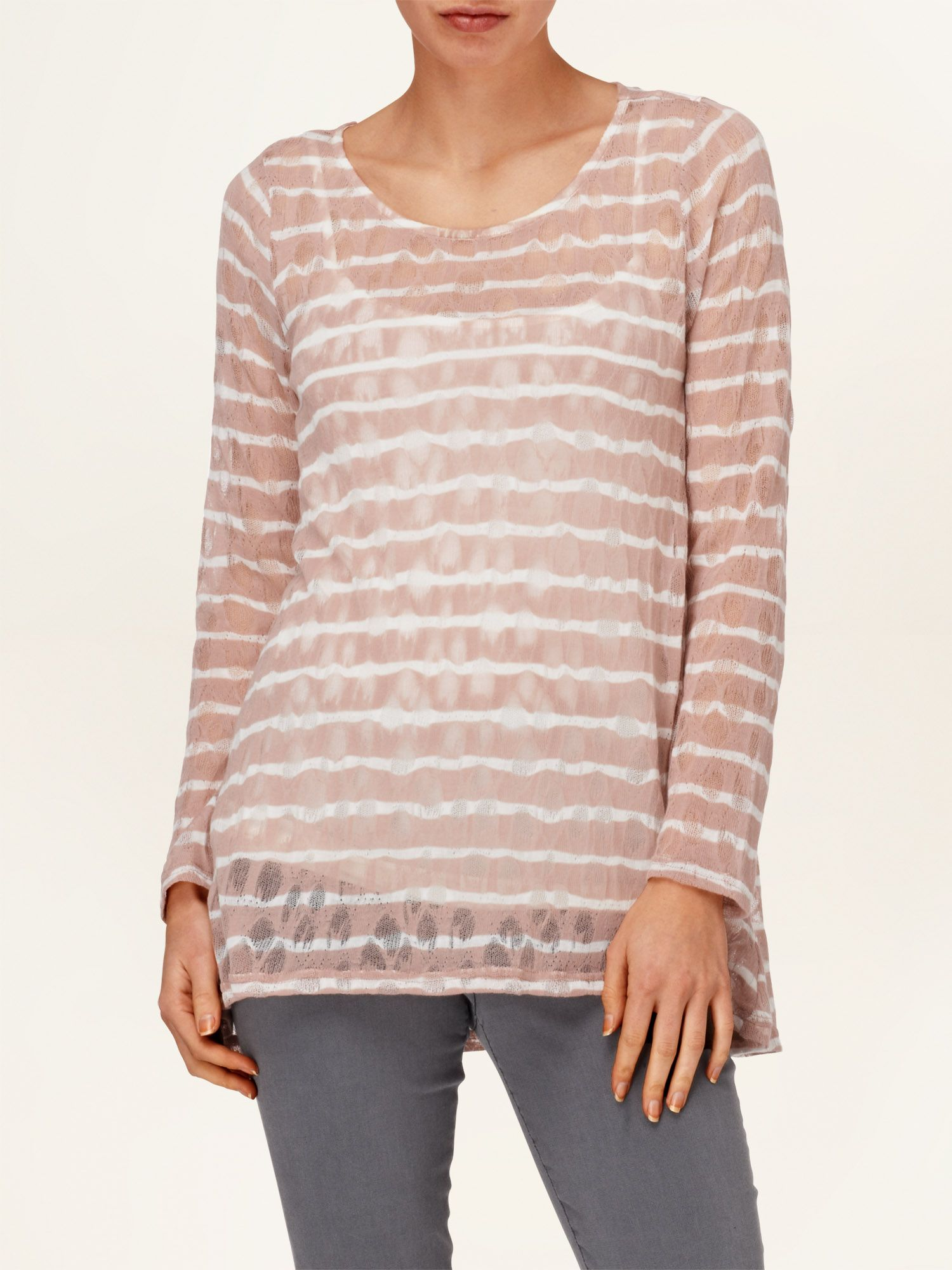 Pointelle stripe joplin top