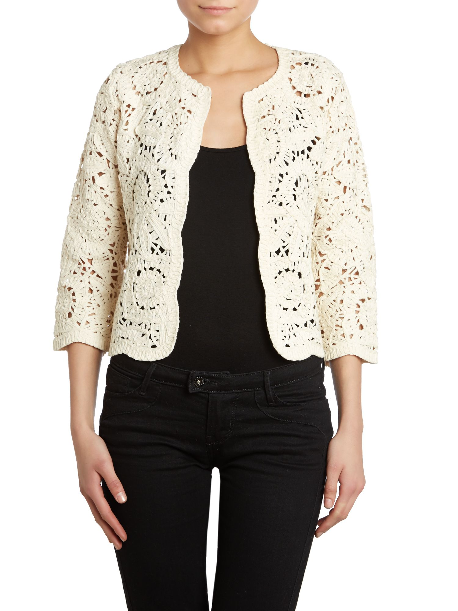 Crochet crop jacket