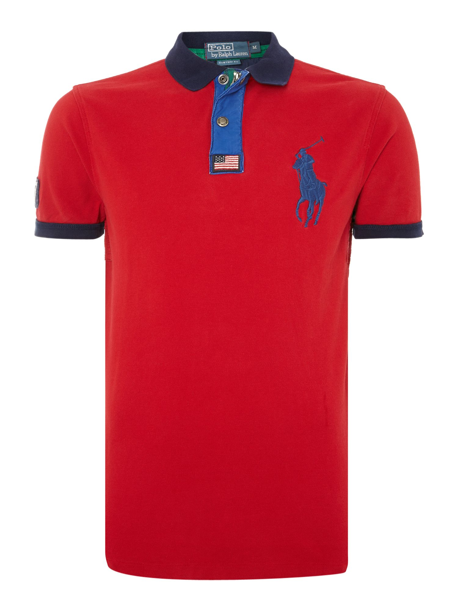 Big pony chunky zip popper slim fit polo shirt