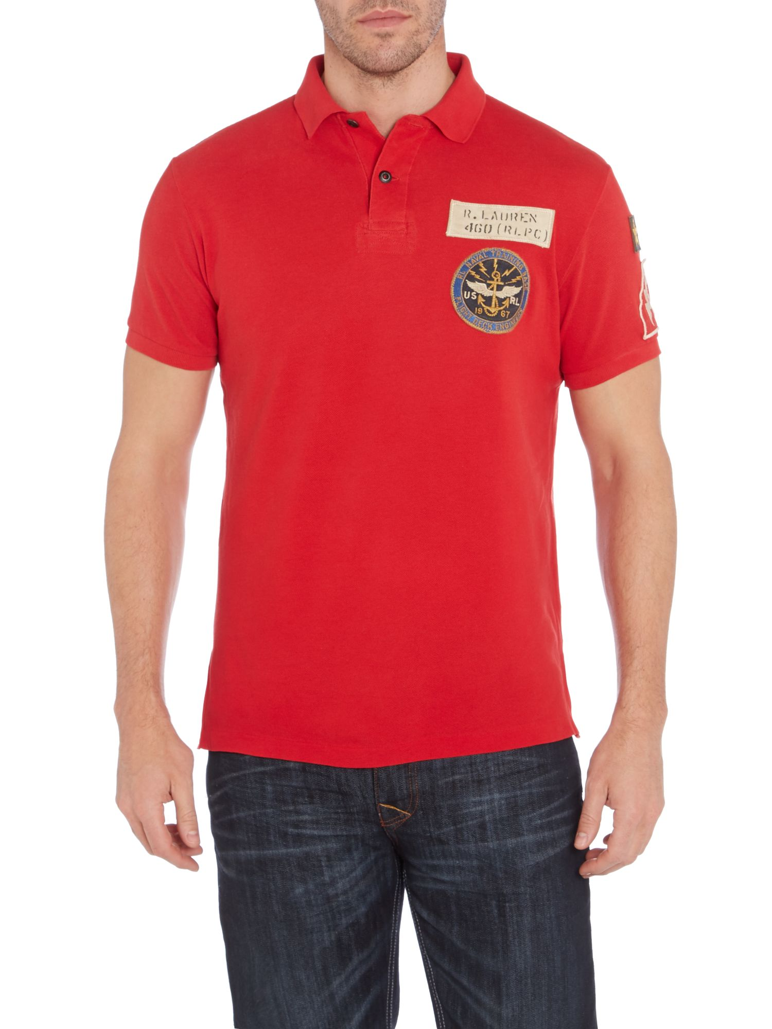 Rugged tiger applique custom fit polo shirt