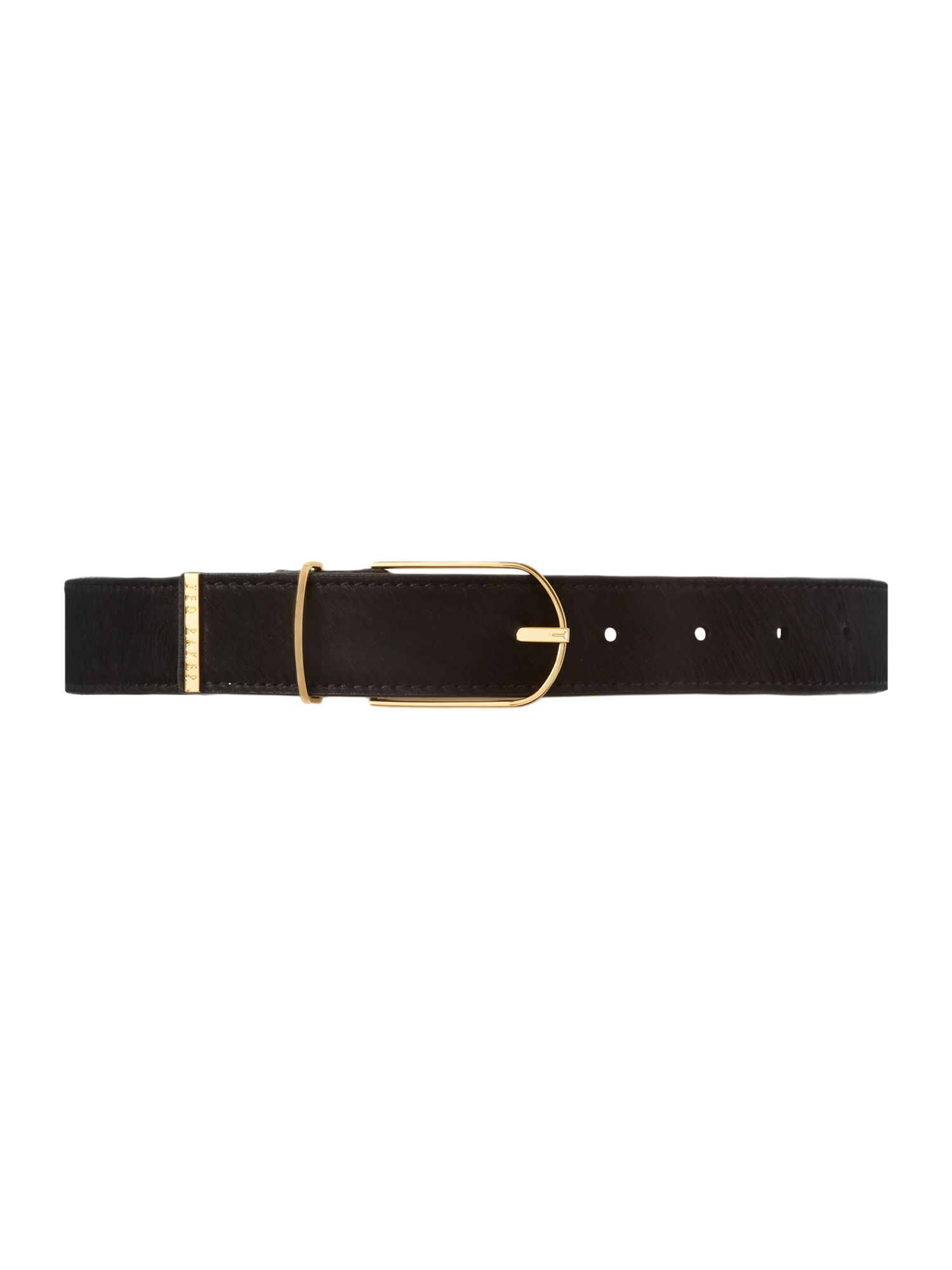 Medium black pony belt