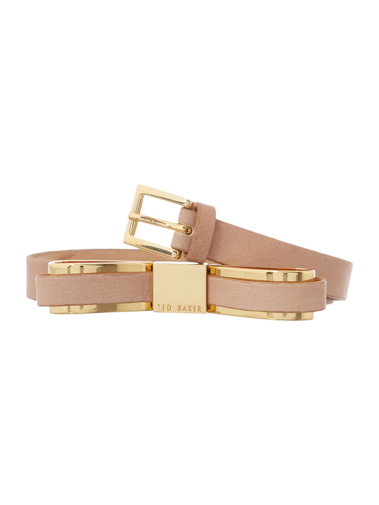 Natural bow leather belt