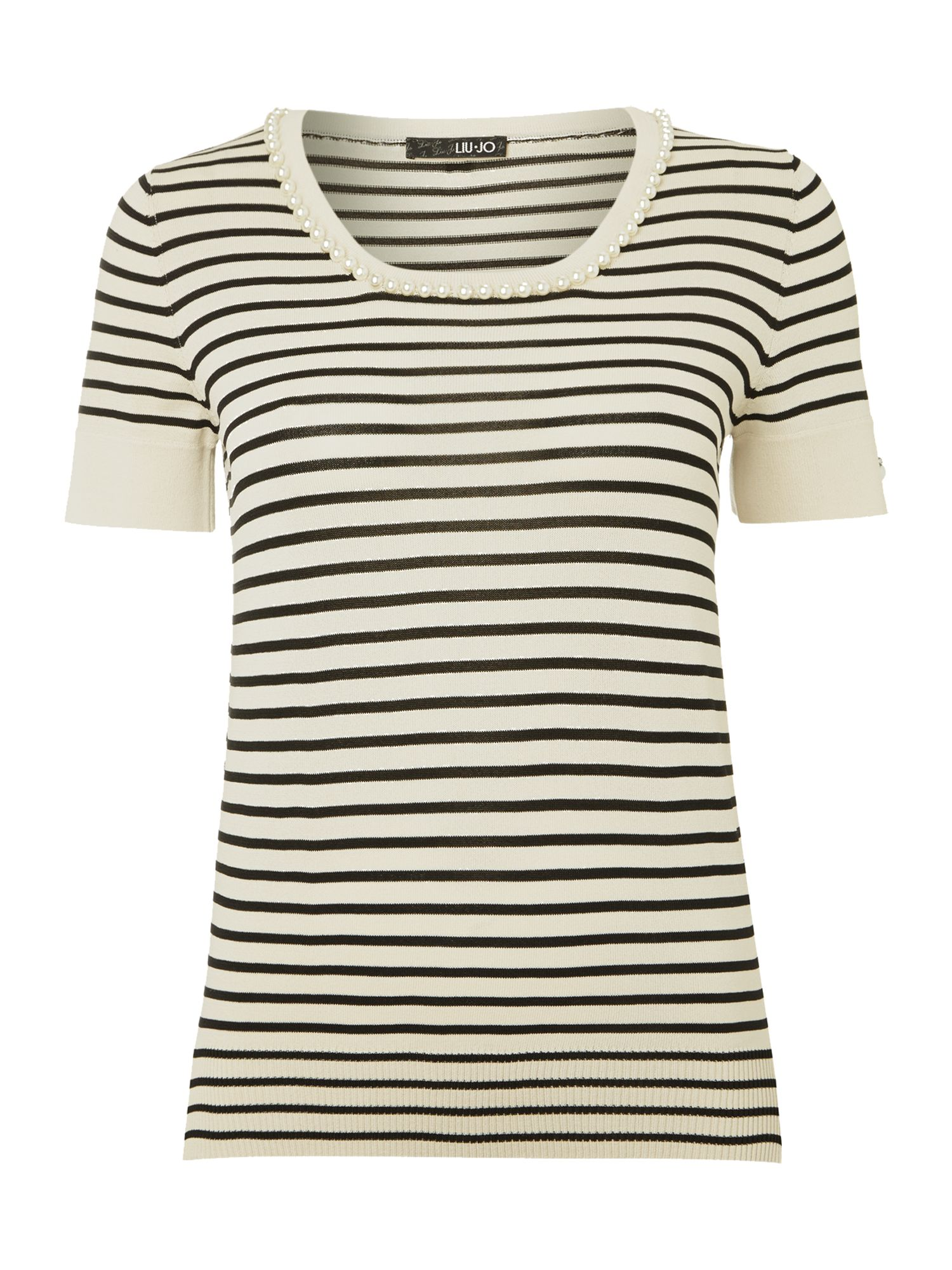 Short sleeve stripe pearl necklace top