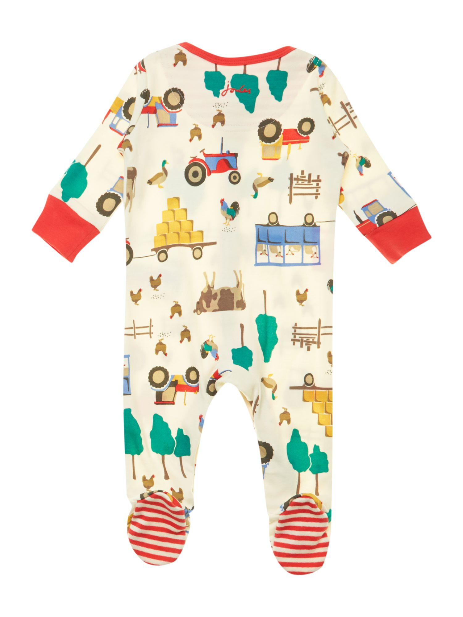 Boy`s farmyard print sleepsuit