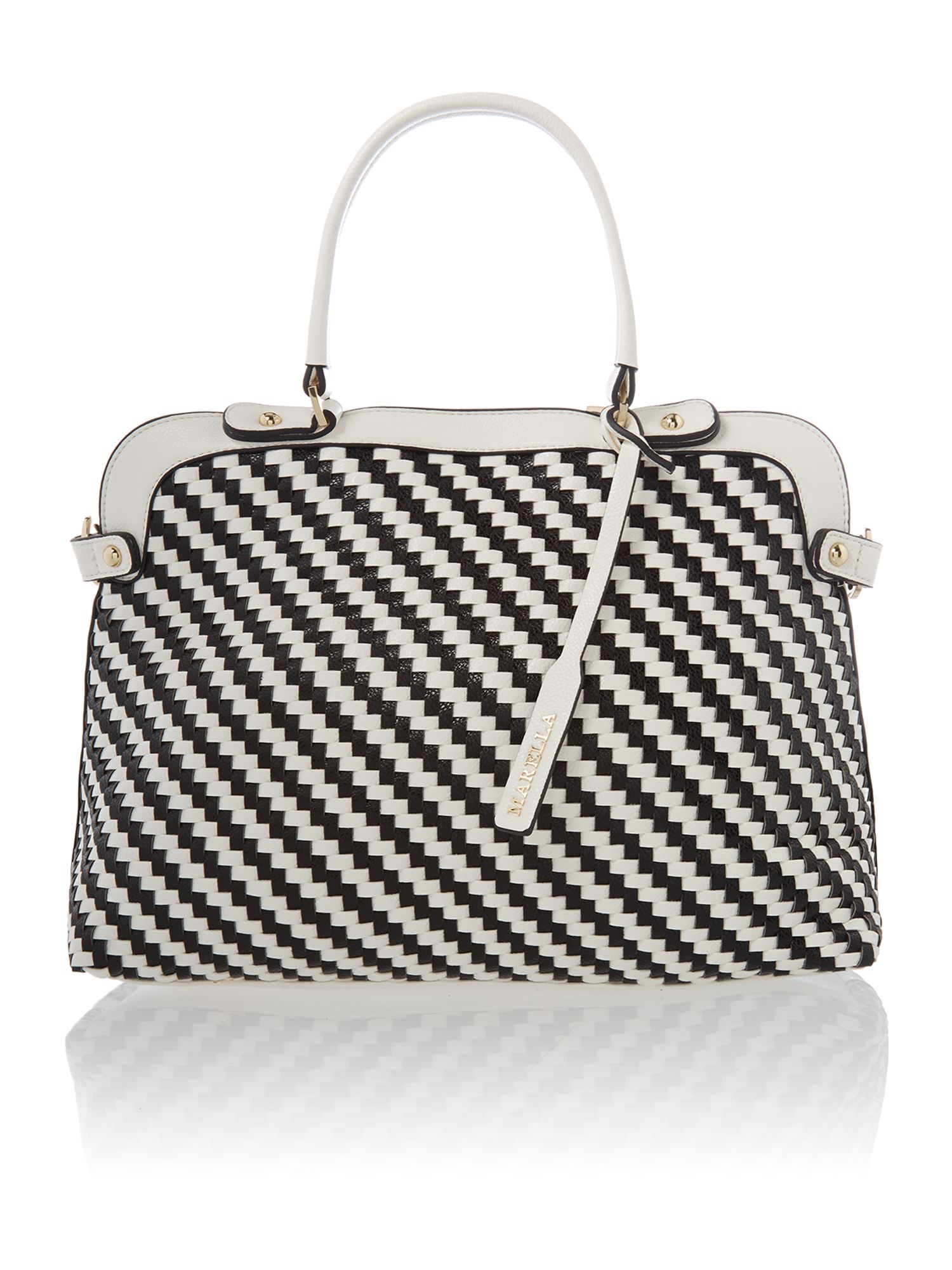 Black and white weave dome bag