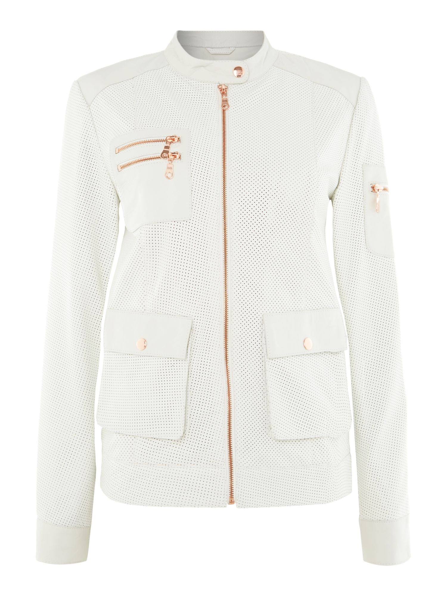 Perforated leather zip detail jacket