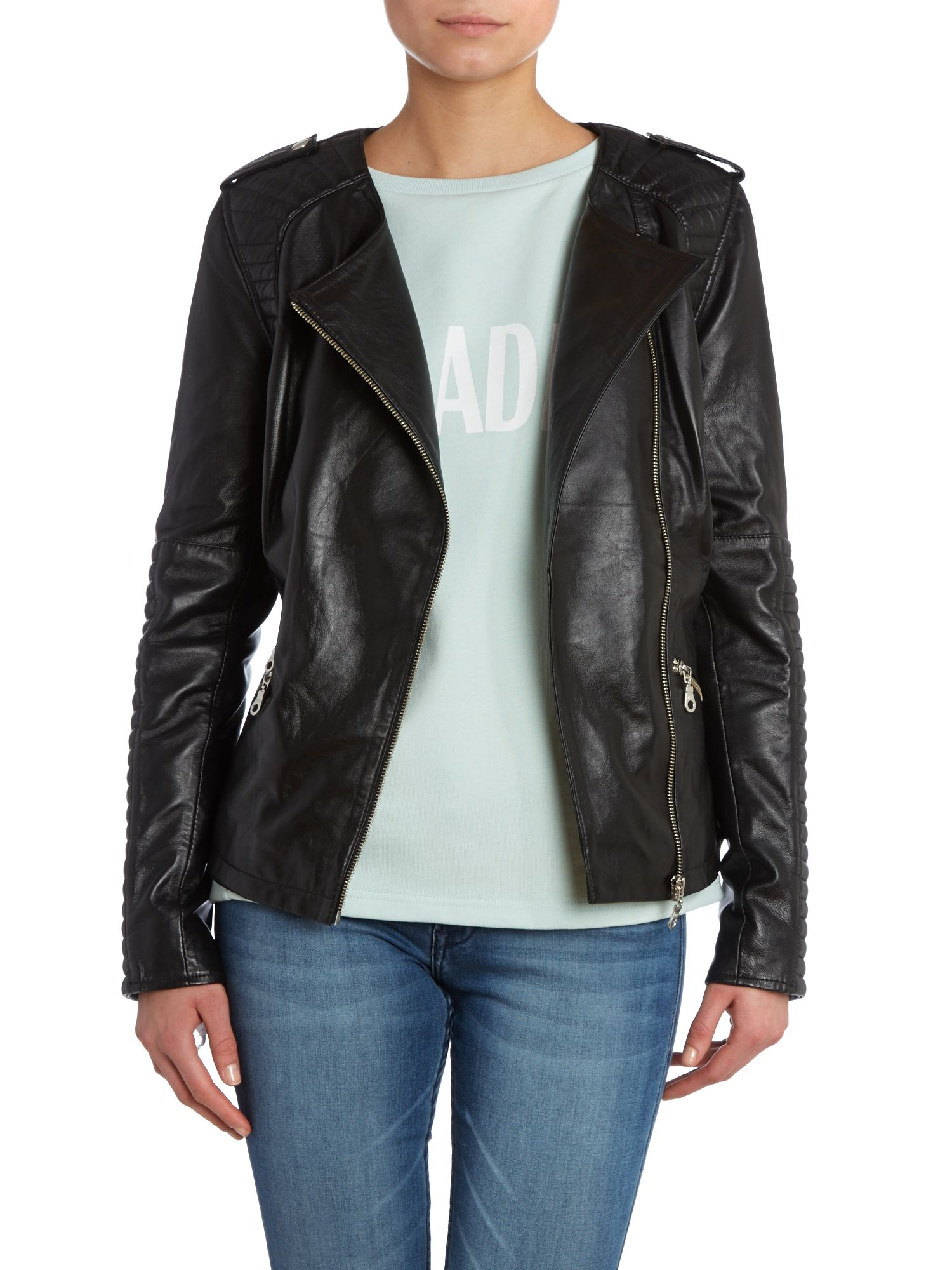 Plexi collarless biker jacket