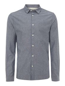 rice polka dot chambray long sleeved shirt