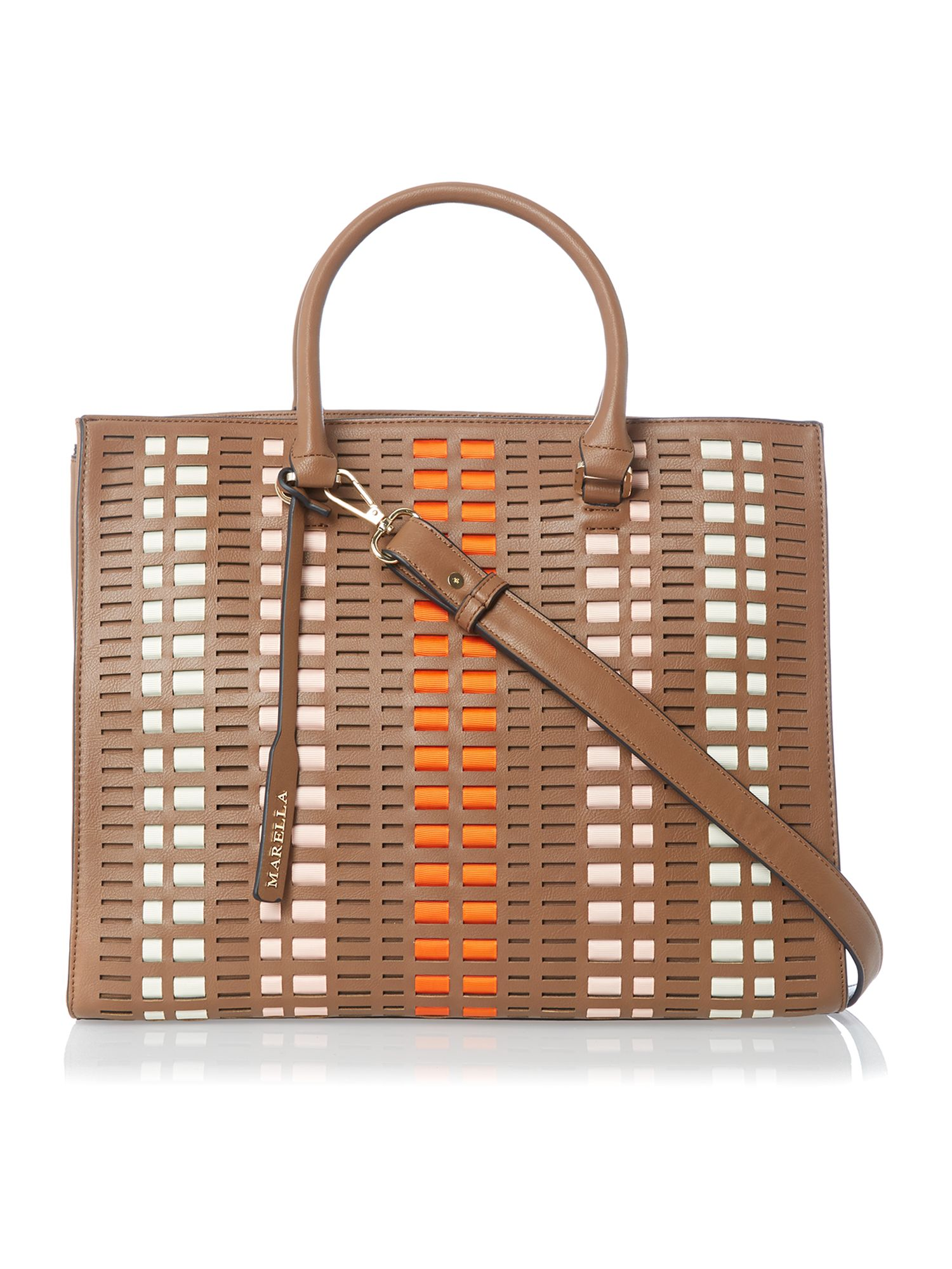 Brown woven tote bag