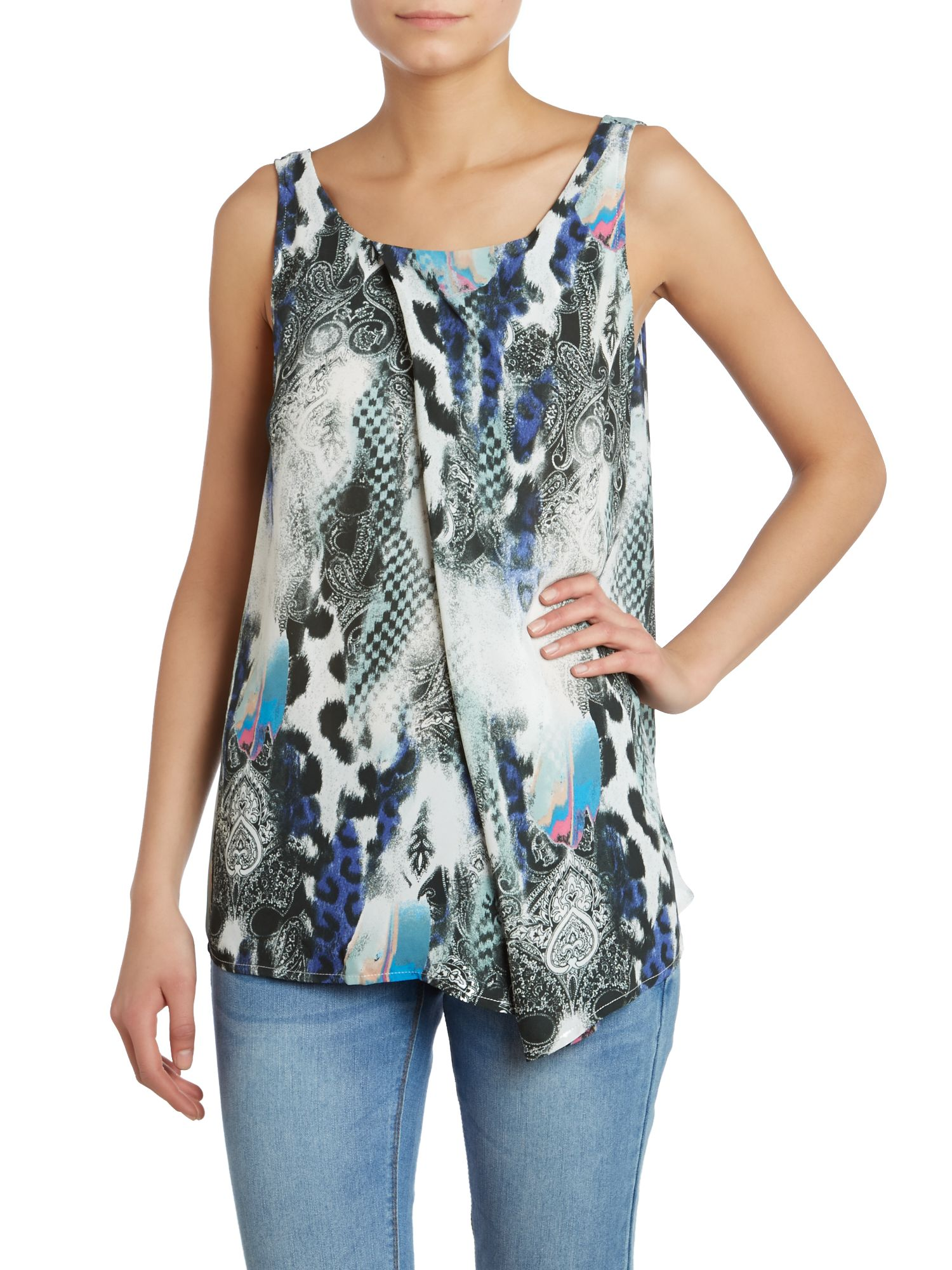 Sleeveless mixed print vest