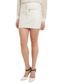Perforated leather zip detail skirt