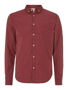 Dalton leaf ditsy printed long sleeved shirt