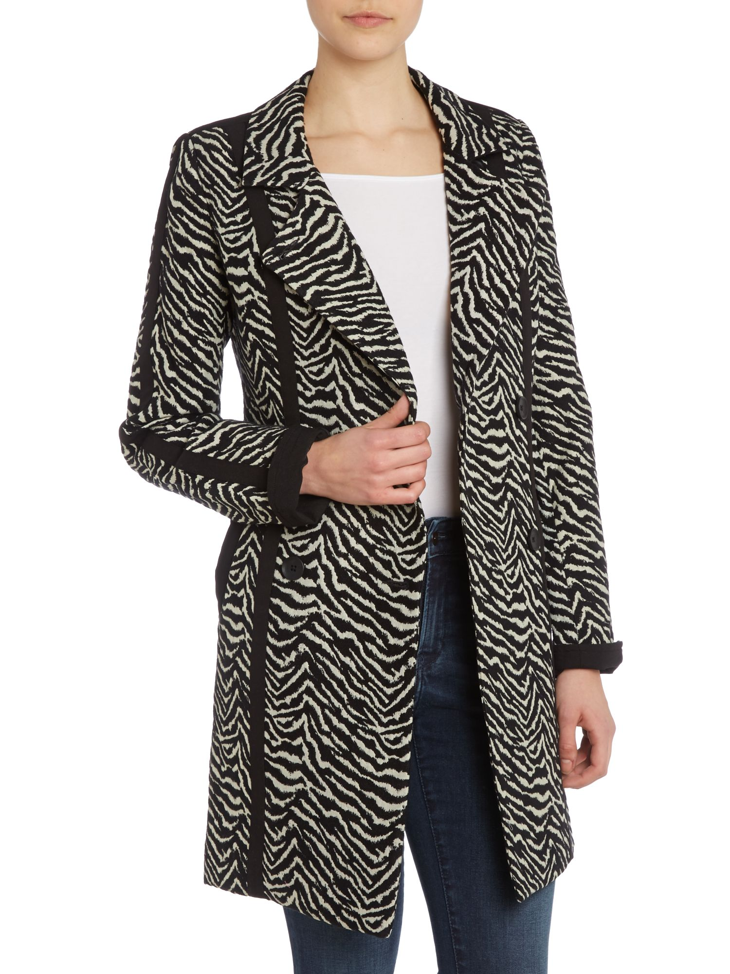 Double breasted zebra print coat