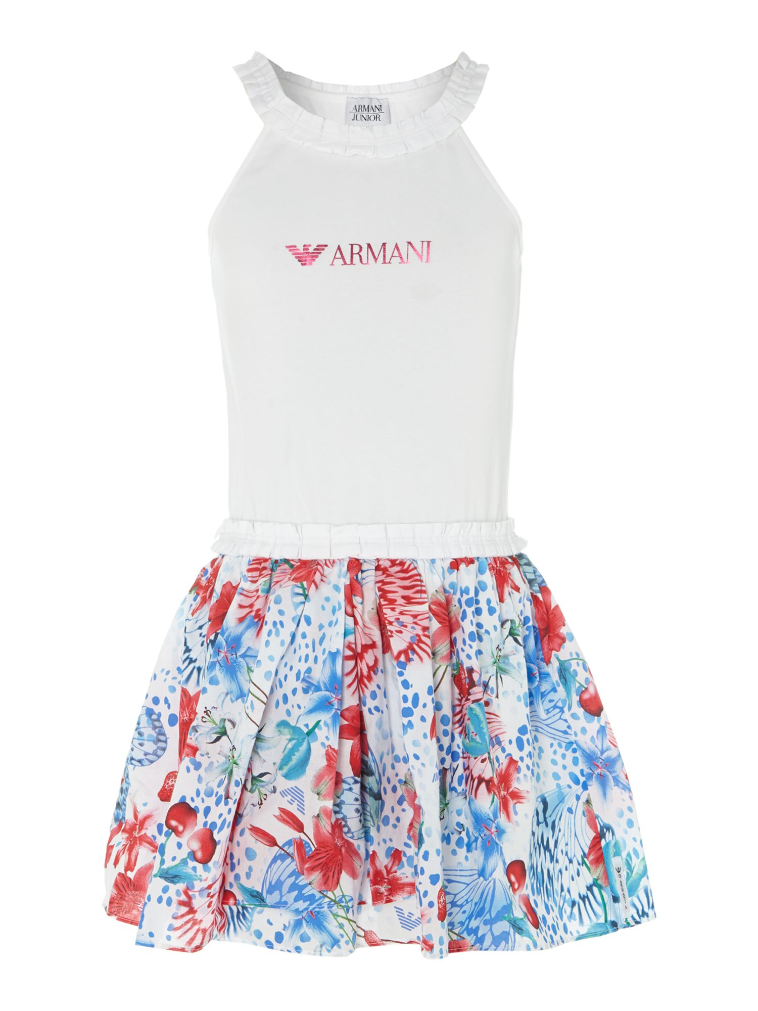 Girl`s floral skirt logo dress