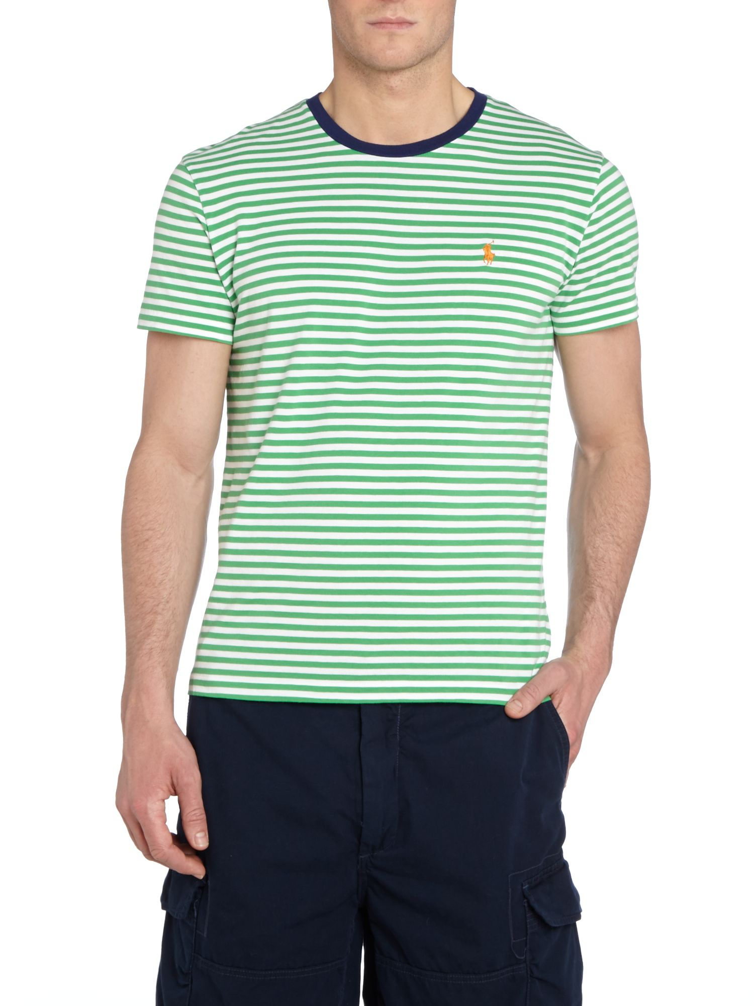 Fine stripe crew neck pocket t-shirt