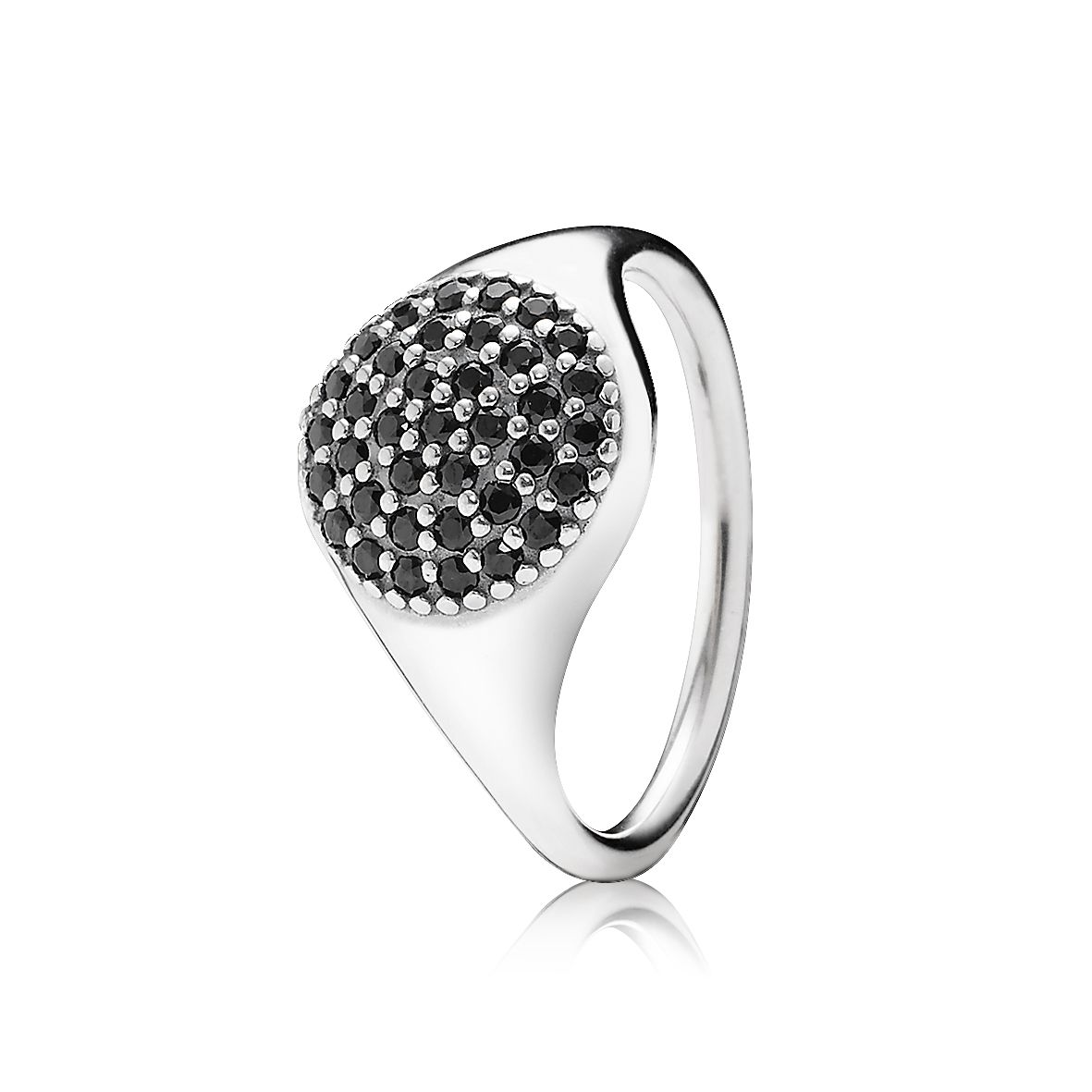 Pave silver ring with black crystal