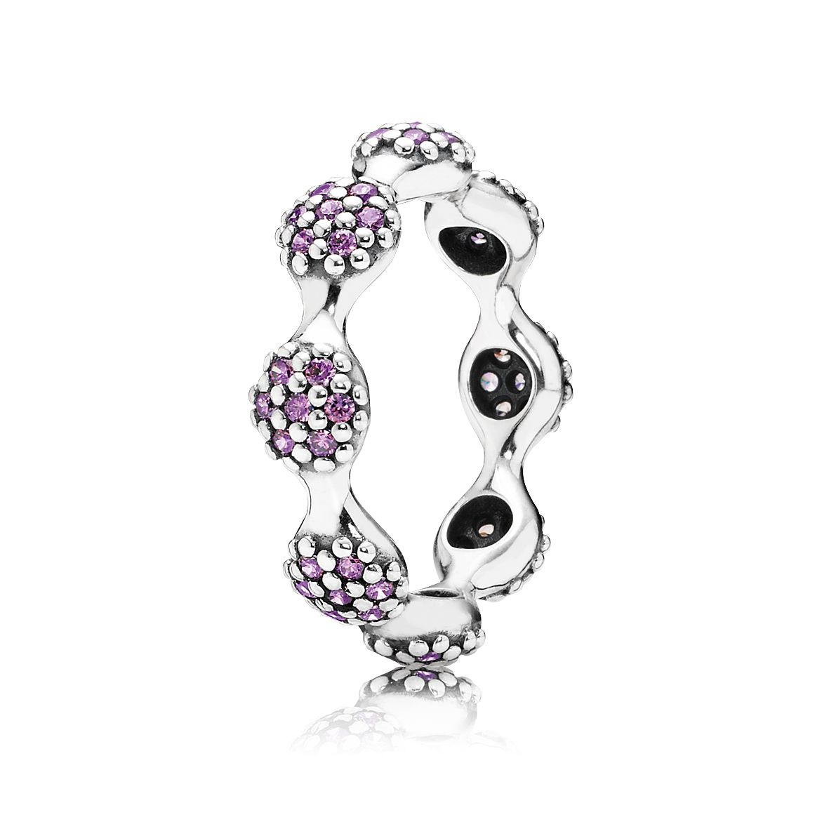 Pave silver ring with fancy purple cubic zirconia