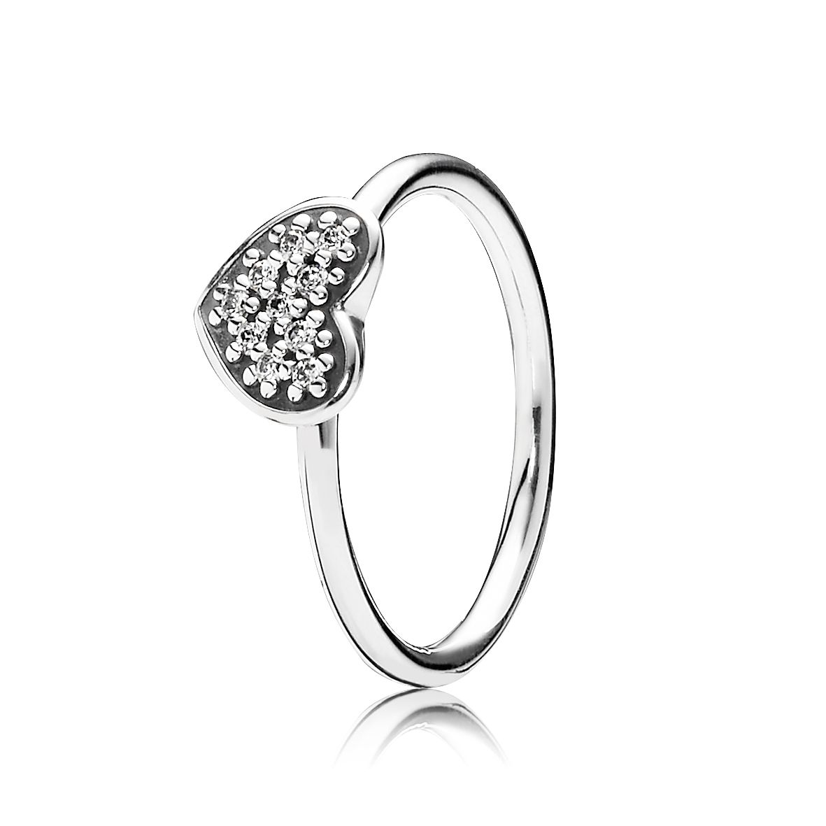 Heart silver ring with pave set cubic zirconia