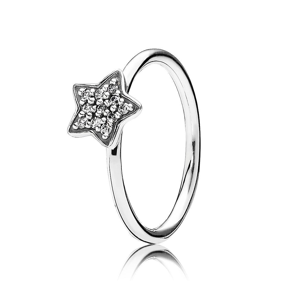 Star silver ring with cubic zirconia