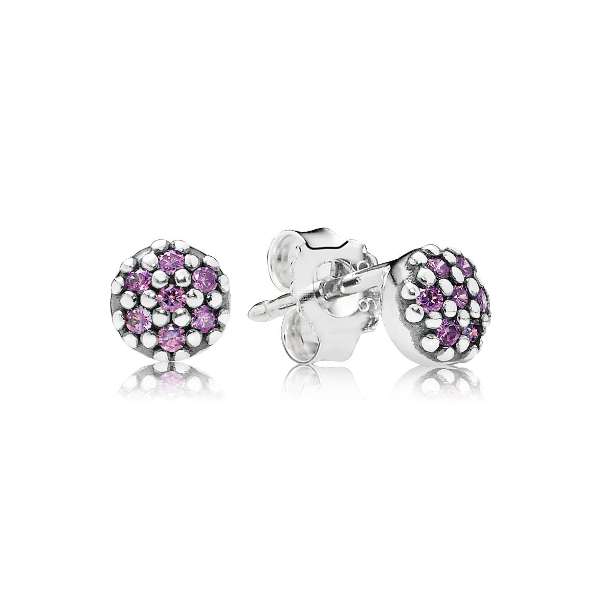 Pandora Pave silver stud earring with cubic zirconia
