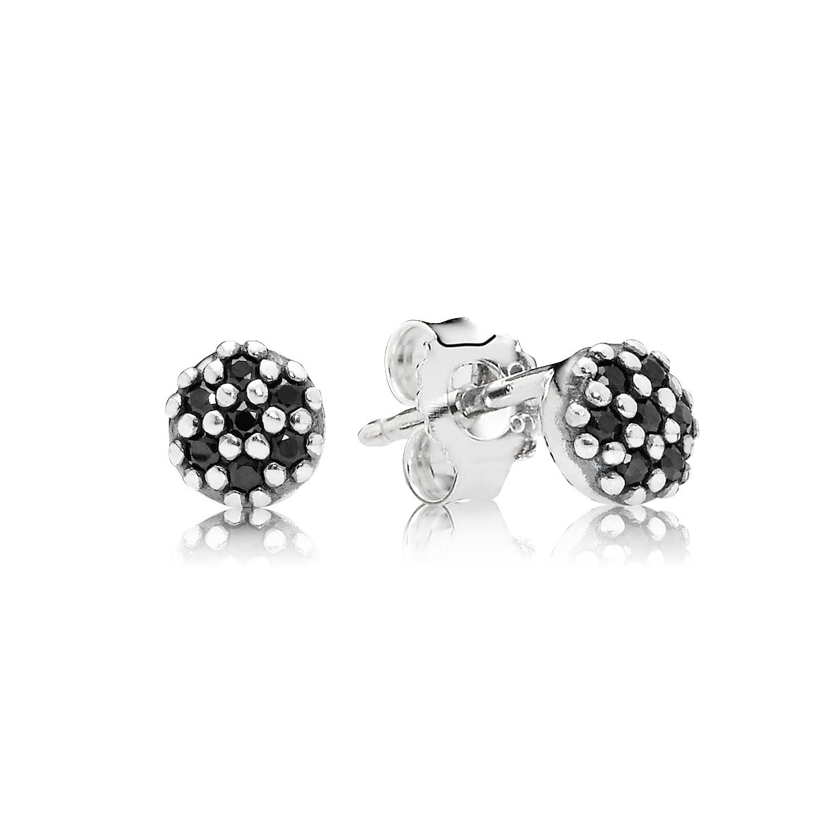 Pave silver stud earring with black crystal