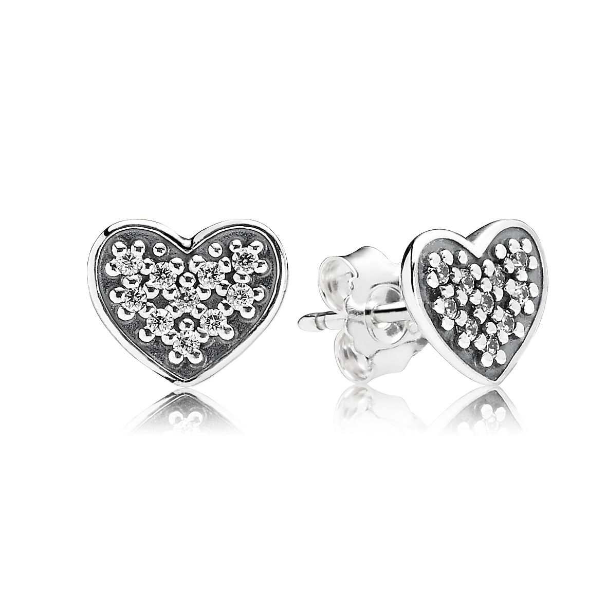 Heart silver stud earring with pave set CZ