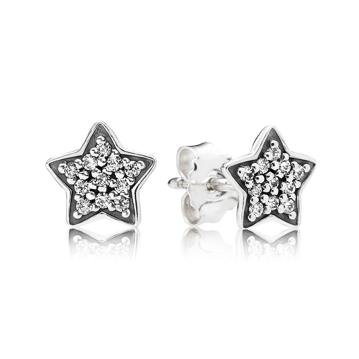 Star silver stud earrings with cubic zirconia
