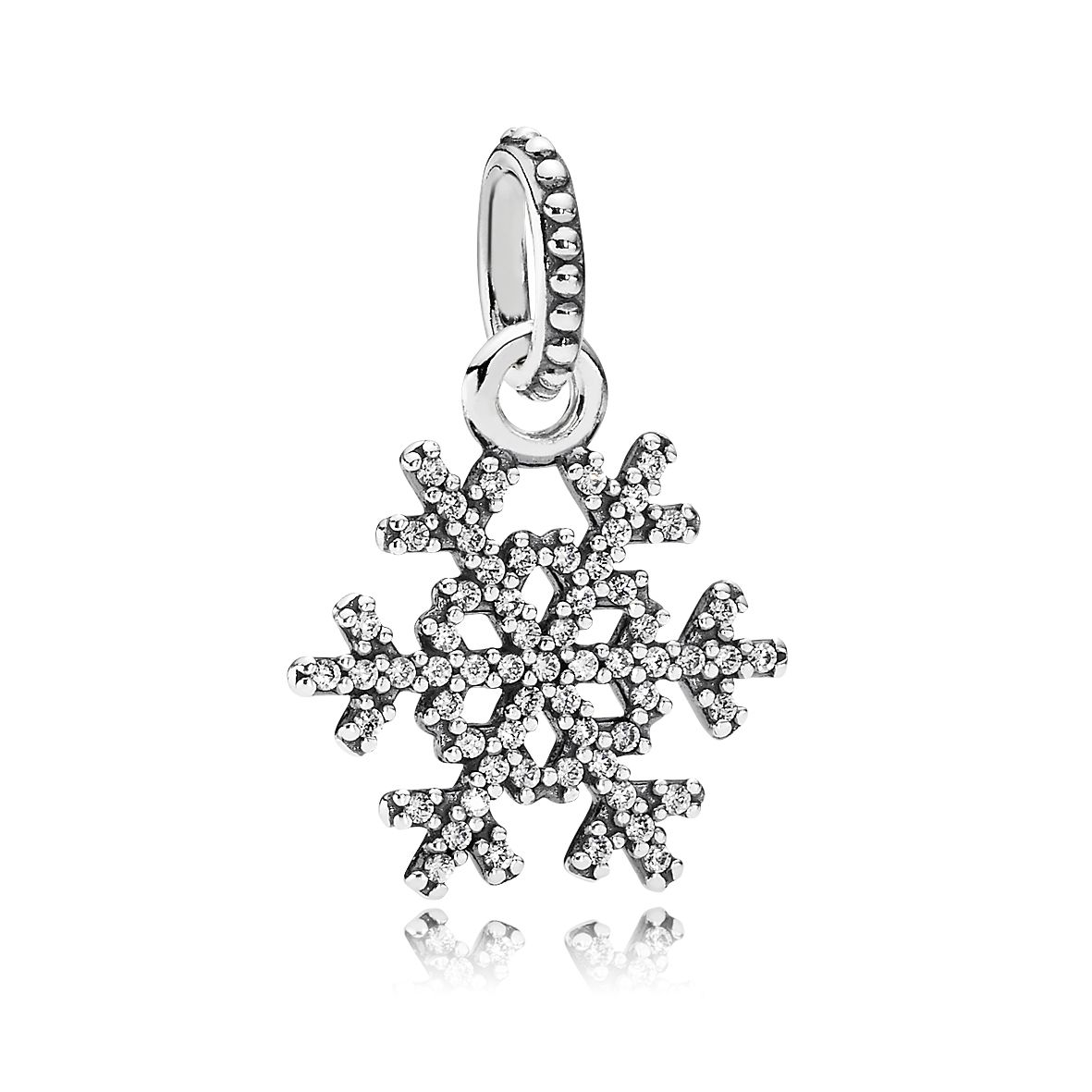 Snowflake silver pendant with cubic zirconia